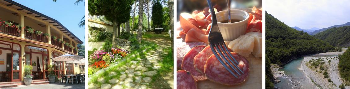 Ristorante Filietto facciata, giardino ristorante Filietto, Salumi, Valtrebbia